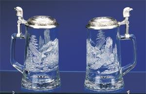 JAMES MEGER GLASS BALD EAGLE STEIN