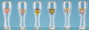 WEIZENBIER GOLD TRIM GLASS-SET OF  6 ASSORTED