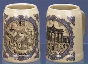 GERMAN CITY MUGS-SET OF 6 ASSORTED