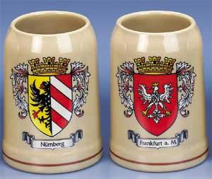 GERMAN CITY CREST MUG-SET OF 6 ASSORTED
