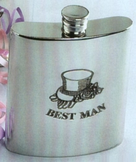 Best Man Fine English Pewter Wedding Flask