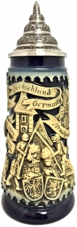 Blue Deutschland Germany Jousting Medieval Knights LE German Beer Stein .3 L