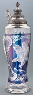 Blue Tall Cut Glass Eagle Stein