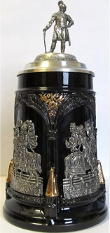 Medieval Tournament Jousting Pewter Knight Lid LE German Been Stein .5 L