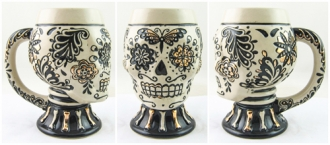 Day of the Dead Gold Skull Mug with Handle