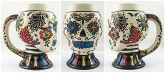 Day of the Dead Multi-color Skull Mug with Handle