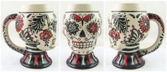 Day of the Dead Red Skull Mug with Handle