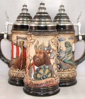 Denmark Viking Ship German Beer Stein 1/2L