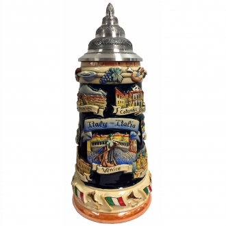 Italy Italia Panorama Relief LE German Stoneware Beer Stein .75 L Made Germany