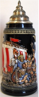 Leif Erikson Norse Explorer Discovers America LE German Beer Stein .75 L