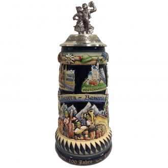 100 Years of Bayern Bavaria with Dancers Pewter Lid LE German Beer Stein .75 L
