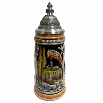 City of Koln Cologne Relief German Stoneware Beer Stein .5 L Made in Germany