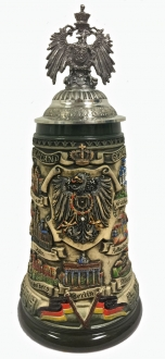 Deutschland Germany City Panorama with 3D Eagle Lid LE German Beer Stein .75 L