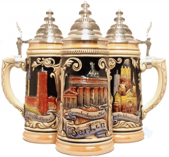 German Beer Stein with Berlin Germany Relief 1/2L