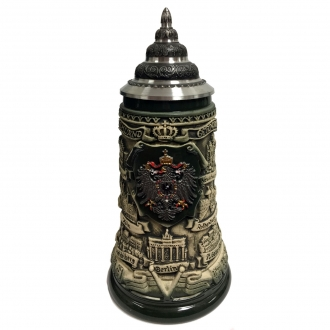 Rustic German Cities with Pewter Eagle Decal LE Stoneware Beer Stein .4 L