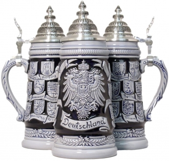 German Beer Stein Blue Crest Deutschland