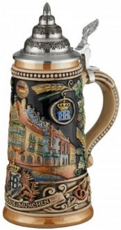 Hofbrauhaus Munich Munchen Building LE Relief Colorful German Beer Stein .5 L