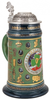 IRISH-AMERICAN STEIN WITH FLAT PEWTER LID