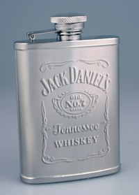 JACK DANIEL'S 3 OZ EMBOSSED LABEL FLASK