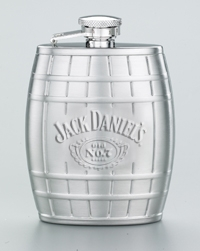 JACK DANIEL'S EMBOSSED 4 OZ BARREL FLASK