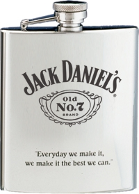 *JACK DANIEL'S SS FLASK W/ BLACK OLD NO.7