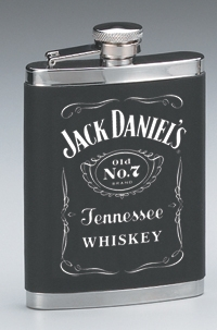 *JACK DANIEL'S STAINLESS STEEL LEATHERETTE COVER FLASK