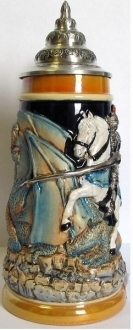 Medieval Knight Riding a Horse Fighting a Dragon LE German Beer Stein .5 L