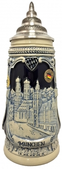 Munchen Munich Church Portraits Blue Relief LE German Beer Stein .5 L Germany