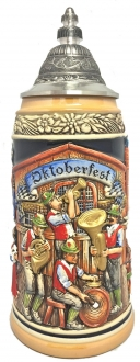 Oktoberfest Musicians with People Drinking Beer LE German Beer Stein 1 L