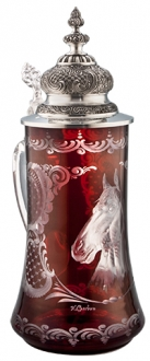 Ruby Cut Glass Horse Stein