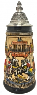 Rustic Deutschland Germany Towns with Jousting Knights LE German Beer Stein .5 L
