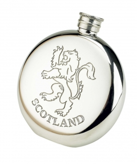 Scotland Royal Lion Round Fine English Pewter Flask