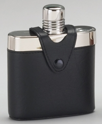 STAINLESS STEEL FLASK W/ BLACK COVER
