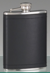 STAINLESS STEEL HIP FLASK W/ BLACK LEATHER COVER