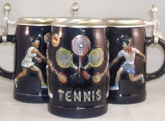 Tennis German Beer Stein with Flat Pewter Lid .5L