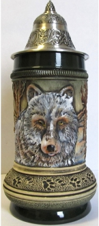 Rustic Wolf with Paw Prints LE German Beer Stein .5 L
