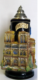 3D Paris France Landmarks with Eiffel Tower Handle LE German Beer Stein 1.2 L