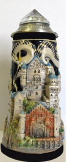 Germany 3D Neuschwanstein Castle with Crystal Lid LE German Beer Stein .7 L