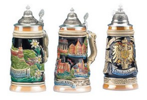 German States & Cities Beer Steins