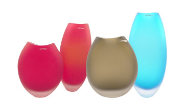 Frosted Satin Finish Murano Glass Vases
