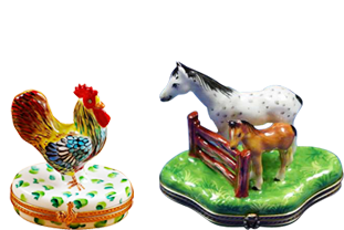 Our collection of Limoges boxes depicting animals is vast and embraces all sorts of animals, birds, reptiles, insects etc.