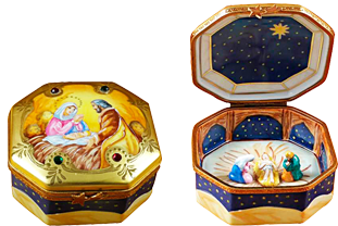 This is selection of elegant porcelain Limoges Boxes having themes that display precious symbols of faith. Includes Open Bible, NoahÂ's Ark, Mezuzah, Red Buddha, Triptych-Nativity, etc.