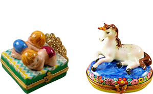 This is selection of elegant porcelain Limoges Boxes having themes that celebrate important events you may share with your child.