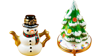 This is selection of elegant porcelain Limoges Boxes having themes that celebrate the Christmas and New Years holidays.