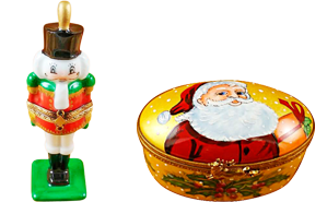 This is selection of elegant porcelain Limoges Boxes having themes that celebrate the Christmas and New Years holidays. Includes Nutcracker, Snowman Couple, Studio Collection with Santa Claus, Christmas Boot, etc. Will express your best holiday memories