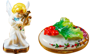 This is selection of elegant porcelain Limoges Boxes having themes that celebrate the Christmas and New Years holidays. Includes Nutcracker, Snowman Couple, Studio Collection with Santa Claus, Christmas Boot, etc. Will express your best holiday memories.