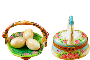 This is selection of elegant porcelain Limoges Boxes with stunning depictions of boxes in several themes.