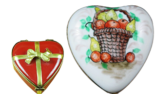 This is selection of elegant porcelain Limoges Boxes with stunning depictions of hearts in several themes.