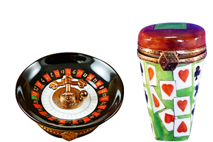This is selection of elegant porcelain Limoges Boxes that display your favorite games.