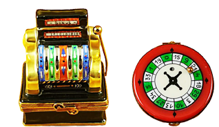 This is selection of elegant porcelain Limoges Boxes that display your favorite games. Includes Slot Machine, Bingo Game, Black Roulette Wheel, Royal Flush Hand, etc.